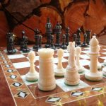 Chess pieces made of bone